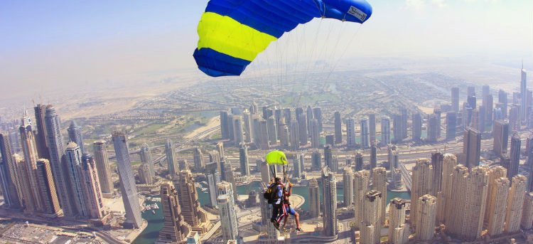 Skydiving above Dubai's impressive skyline
